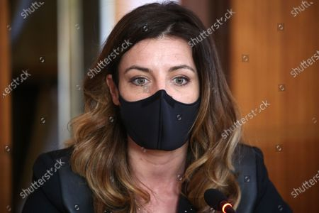 Stock Image of Coralie Dubost. French LREM Member of Parliament Coralie Dubost, the French Health Minister Olivier Veran's partner, during the French Junior Minister of Public Action and Accounts Olivier Dussopt's visit in Montpellier, Southern France