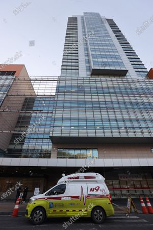 Stock Image of An ambulance stands outside the St. Mary's Hospital in Seoul, South Korea, 20 January 2021, where former President Park Geun-hye, now imprisoned on corruption convictions, was placed under quarantine due to suspicion she may have contracted the new coronavirus. Park tested negative for coronavirus disease (COVID-19) earlier in the day after coming into contact with an infected person, the justice ministry said, but she will be quarantined at the hospital for a period of time as a precaution. SOUTH KOREA OUT