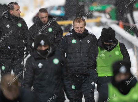 Celtic Manager Neil Lennon walks away from the dugout at the full-time whistle after drawing 2-2.