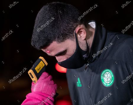 Tom Rogic of Celtic gets his temperature taken before entry to the Tony Macaroni Arena.