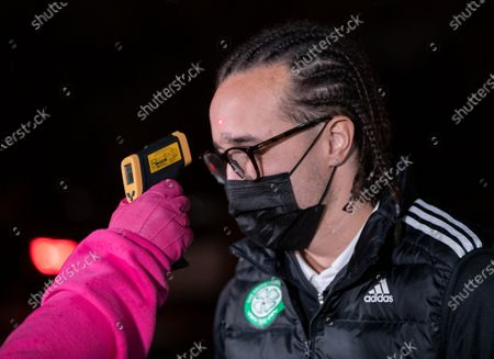 Stock Photo of Diego Laxalt of Celtic gets his temperature taken before entry to the Tony Macaroni Arena.