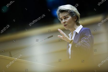 European Commission President Ursula Von Der Leyen addresses European lawmakers during the presentation of the programme of activities of the Portuguese Presidency on a plenary session at the European Parliament in Brussels, Belgium, 20 January 2021.