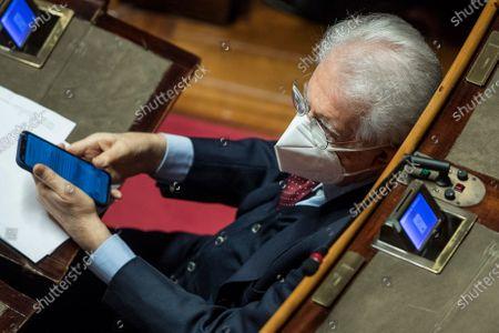 Stock Picture of Senator Mario Monti during a debate in the Senate