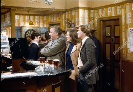 Alan Browning (as Alan Howard), Judith Barker (as Janet Barlow) and William Roache (as Ken Barlow)
