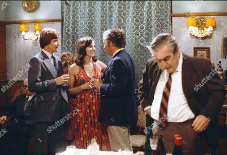Jack Howarth (as Albert Tatlock), William Roache (as Ken Barlow), Judith Barker (as Janet Barlow), Alan Browning (as Alan Howard) and Bernard Youens (as Stan Ogden)
