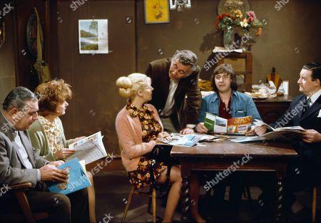 Bernard Youens (as Stan Ogden), Jean Alexander (as Hilda Ogden), Julie Goodyear (as Bet Lynch), Alan Browning (as Alan Howard), Neville Buswell (as Ray Langton) and Bryan Mosley (as Alf Roberts)