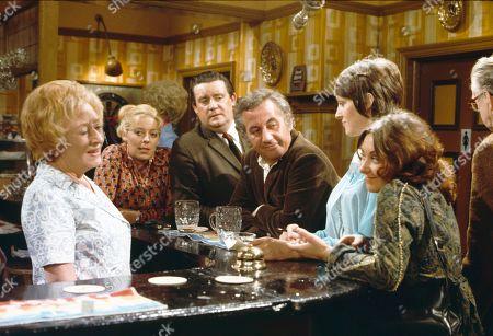 Doris Speed (as Annie Walker), Julie Goodyear (as Bet Lynch), Bryan Mosley (as Alf Roberts), Alan Browning (as Alan Howard), Diana Davies (as Norma Ford) and Jennifer Moss (as Lucille Hewitt)