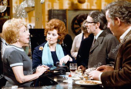 Doris Speed (as Annie Walker), Barbara Knox (as Rita Littlewood), Stephen Hancock (as Ernest Bishop) and Alan Browning (as Alan Howard)