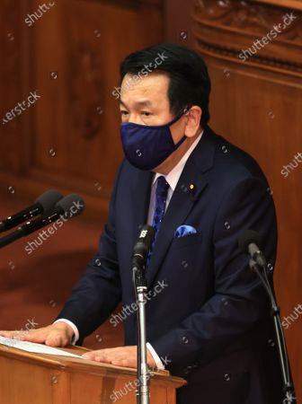 Japanese main opposition Constitutional Democratic Party of Japan leader Yukio Edano questions to Prime Minister Yoshihide Suga at Lower House's plenary session at the National Diet in Tokyo on Wednesday, January 20, 2021. Ruling and opposition parties questioned to Suga as Suga delivered his policy speech at the beginning of an ordinary Diet session on January 18.