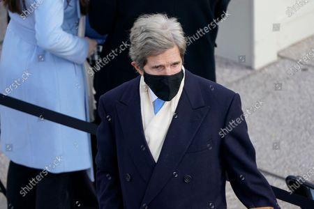 Former Secretary of State John Kerry arrives for the 59th Presidential Inauguration at the U.S. Capitol in Washington