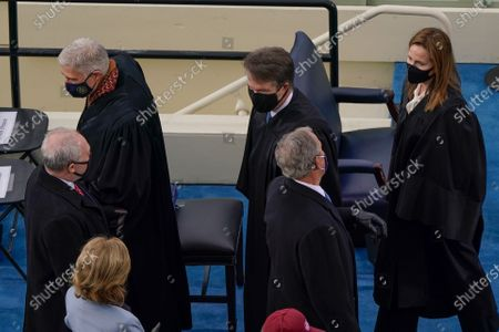 From l-r., House Minority Whip Steve Scalise, R-La., U.S. Supreme Court Associate Justice Neil M. Gorsuch, Supreme Court Justice Brett Kavanaugh, former President George W. Bush, and Supreme Court Justice Amy Coney Barrett, at the 59th Presidential Inauguration at the U.S. Capitol in Washington