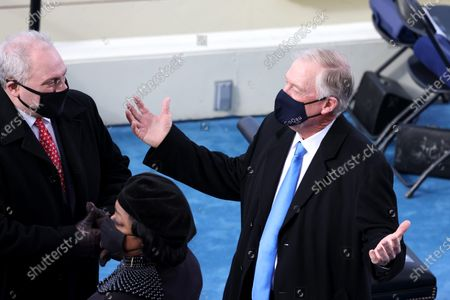 U.S. House Minority Whip Steve Scalise (R-LA) (L) speaks to former U.S. Vice President Dan Quayle as they arrive at the inauguration of Joe Biden as US President in Washington, DC, USA, 20 January 2021. Biden won the 03 November 2020 election to become the 46th President of the United States of America.