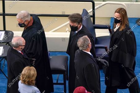 (L-R), House Minority Whip Steve Scalise, R-La., U.S. Supreme Court Associate Justice Neil M. Gorsuch, Supreme Court Justice Brett Kavanaugh, former President George W. Bush, and Supreme Court Justice Amy Coney Barrett, at the 59th Presidential Inauguration at the US Capitol in Washington, DC, USA, 20 January 2021. Biden won the 03 November 2020 election to become the 46th President of the United States of America.