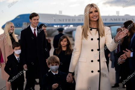 Ivanka Trump, senior adviser to President Trump, Jared Kushner, senior White House adviser, and their children arrive to a farewell ceremony at Joint Base Andrews, Maryland, U.S.,. Trump departs Washington with Americans more politically divided and more likely to be out of work than when he arrived, while awaiting trial for his second impeachment - an ignominious end to one of the most turbulent presidencies in American history.