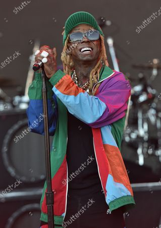 Image taken on 09 Aug 2019. Lil Wayne performs during the 2019 Outside Lands music festival at Golden Gate Park.