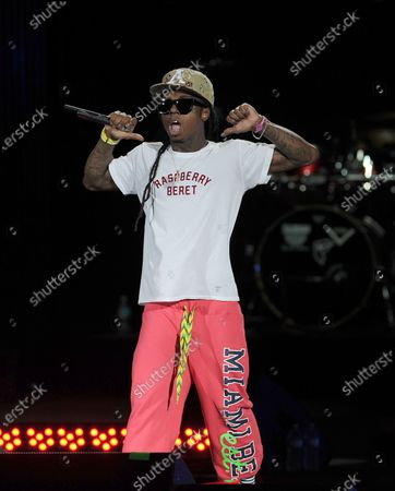 Image taken on 02 Aug 2011. Rapper Lil Wayne performs during the I Am Still Music tour at the Cruzan Amphitheatre.