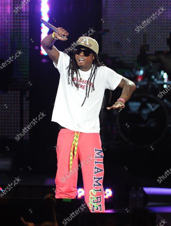 Stock Image of Image taken on 02 Aug 2011. Rapper Lil Wayne performs during the I Am Still Music tour at the Cruzan Amphitheatre.