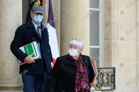 Stock Picture of French Education, Youth and Sports Minister Jean-Michel Blanquer and French French Minister of Territorial Cohesion and Relations with Local Authorities Minister, Jacqueline Gourault leave after the weekly cabinet meeting at Elysee Palace