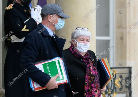 Stock Image of French Education, Youth and Sports Minister Jean-Michel Blanquer and French French Minister of Territorial Cohesion and Relations with Local Authorities Minister, Jacqueline Gourault leave after the weekly cabinet meeting at Elysee Palace