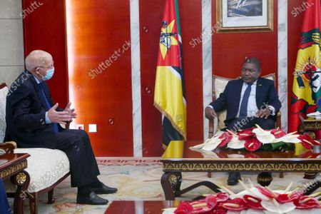 Portuguese Minister of Foreign Affairs and leader of a European Union mission Augusto Santos Silva (L) speaks with the President of the Republic of Mozambique Filipe Nyusi (R) during a meeting at the Presidential Palace in Maputo, Mozambique, 20 January 2021.