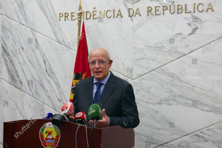 Portuguese Minister of Foreign Affairs and leader of a European Union mission Augusto Santos Silva Silva speaks during a press conference following a meeting with the President of the Republic of Mozambique Filipe Nyusi (not seen) during a meeting at the Presidential Palace in Maputo, Mozambique, 20 January 2021.