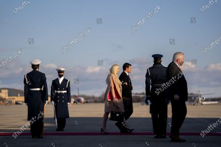First daughter Tiffany Trump, third from left, walks to board Air Force One during a farewell ceremony at Joint Base Andrews before the 59th Presidential Inauguration on Wednesday, January 20, 2021 in Washington DC.