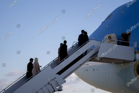 Stock Picture of First children Donald Trump Jnr., Eric Trump, and Tiffany Trump, along with their partners, board Air Force One during a farewell ceremony at Joint Base Andrews before the 59th Presidential Inauguration on Wednesday, January 20, 2021 in Washington DC.