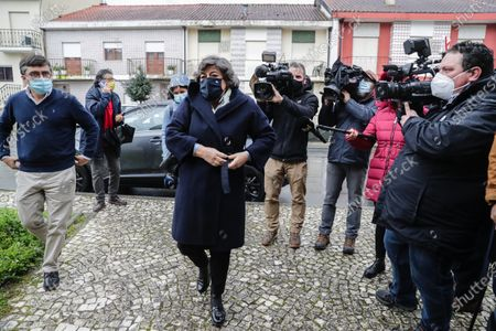 Stock Picture of The candidate for the 2021 presidential elections Ana Gomes (C) on arrival to visit 'Virar a Pagina' solidarity kitchen at the Social Center of the Parish of Gualtar, in Braga, Portugal, 20 January 2021. The presidential elections will take place on 24 January 2021.