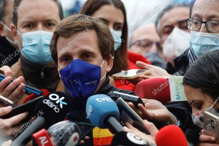 Stock Picture of Madrid's Mayor, Jose Luis Rodriguez-Almeida, speaks to the media at Toledo street in Madrid, Spain, 20 January 2021, after a strong gas explosion caused the collapse of part of a building close to the Virgin of La Paloma church. At least three people died due to the explosion, according to reports.