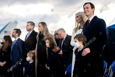 Jared Kushner, senior White House adviser, right, stands with members of the First Family and White House Chief of Staff Mark Meadows prior to a farewell ceremony at Joint Base Andrews, Maryland, USA, 20 January 2021. US President Donald J. Trump is not attending the Inaugration ceremony of President-elect Joe Biden. Biden won the 03 November 2020 election to become the 46th President of the United States of America.