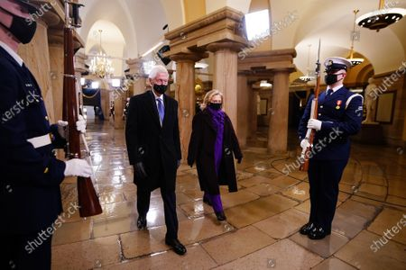 Former President Bill Clinton (L) and former Secretary of State Hillary Clinton arrive in the Crypt of the US Capitol for President-elect Joe Biden's inauguration ceremony to be the 46th President of the United States in Washington, DC, USA, 20 January 2021.