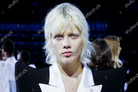 Marjan Jonkman in the backstage at the Balmain Fashion show in Paris, Spring Summer 2021, Ready to Wear Fashion Week