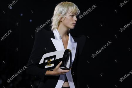 Marjan Jonkman on the catwalk at the Balmain Fashion show in Paris, Spring Summer 2021, Ready to Wear Fashion Week