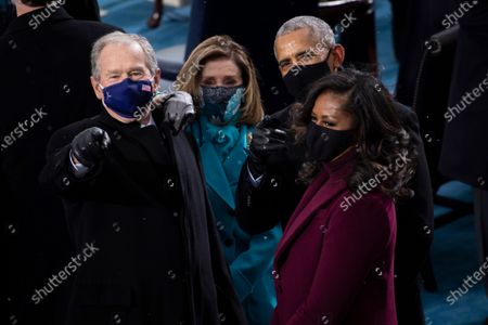 UNITED STATES - January 20: Former President George W. Bush, left, Speaker of the House Nancy Pelosi, D-Calif., Former President Barack Obama and Michelle Obama arrive to the West Front of the U.S. Capitol for the Inauguration of Joe Biden in Washington. (Photo by Caroline Brehman/CQ Roll Call)