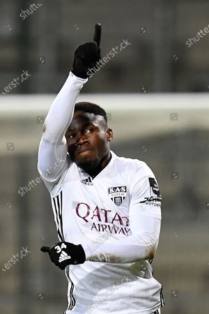 Eupen's Konan N'Dri celebrates after scoring during a soccer match between KAS Eupen and Beerschot VA, Wednesday 20 January 2021 in Eupen, on day 25 of the 'Jupiler Pro League' first division of the Belgian championship.