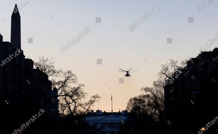 Marine One leaves the White House with US President Donald J. Trump and US First Lady Melania Trump on board as they head to Joint Base Andrews prior to the inaugural ceremony for President-elect Joe Biden and Vice President-elect Kamala Harris on the West Front of the U.S. Capitol in Washington, DC, USA, 20 January 2021. Biden won the 03 November 2020 election to become the 46th President of the United States of America.
