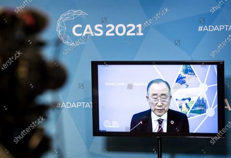 Ban Ki-moon, 8th Secretary-General of the United Nations and chairman of the Global Center on Adaptation appears on screen, during a press briefing on the Climate Adaptation Summit 2021 in The Hague, Netherlands, 20 January 2021. The international climate conference will be held on 25 and 26 January at the World Forum.