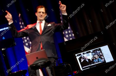 Editorial image of Comedian performs while watching inauguration ceremony, Amsterdam, Netherlands - 20 Jan 2021