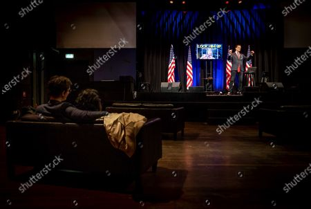 Editorial photo of Comedian performs while watching inauguration ceremony, Amsterdam, Netherlands - 20 Jan 2021