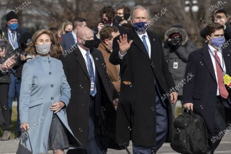 Former President George W. Bush and former First Lady Laura Bush depart the US Capitol following the inauguration of United States President Joe Biden and Vice President Kamala Harris in Washington, DC on Wednesday, January 20, 2021.