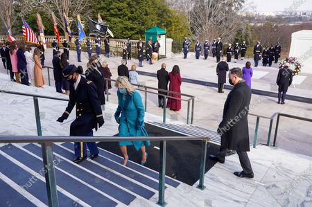 US President Joe Biden, Vice President Kamala D. Harris, Major General Omar J. Jones, US first lady Jill Biden, US former President Bill Clinton with wife, former Secretary of State, Hillary Clinton, Former US President George W. Bush with his wife Laura Bush, Former US president Barack Obama and his wife Michelle Obama attend a wreath laying ceremony at the Tomb of the Unknown Soldier at the Arlington National Cemetery, in Arlington, Virginia, USA, 20 January 2021. Joe Biden was sworn in earlier on the same day and became the 46th President of the United States.