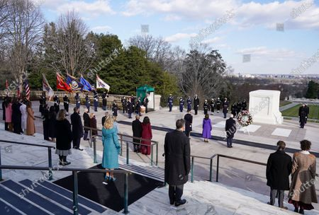 US President Joe Biden, Vice President Kamala D. Harris, Major General Omar J. Jones, US former President Bill Clinton with wife, former Secretary of State, Hillary Clinton, Former US President George W. Bush with his wife Laura Bush, Former US president Barack Obama and his wife Michelle Obama attend a wreath laying ceremony at the Tomb of the Unknown Soldier at the Arlington National Cemetery, in Arlington, Virginia, USA, 20 January 2021. Joe Biden was sworn in earlier on the same day and became the 46th President of the United States.
