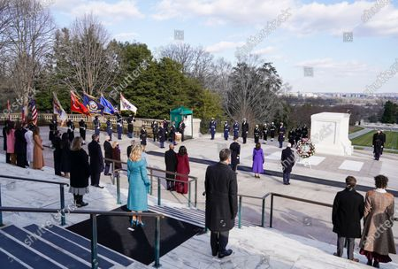 US President Joe Biden, Vice President Kamala D. Harris, Major General Omar J. Jones, US first lady Jill Biden, US former President Bill Clinton with wife, former Secretary of State, Hillary Clinton, Former US President George W. Bush with his wife Laura Bush,Former US president Barack Obama and his wife Michelle Obama attend a wreath laying ceremony at the Tomb of the Unknown Soldier at the Arlington National Cemetery, in Arlington, Virginia, USA, 20 January 2021. Joe Biden was sworn in earlier on the same day and became the 46th President of the United States.