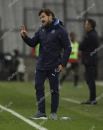Stock Photo of Marseille's head coach Andre Villas-Boas reacts during the French League One soccer match between Marseille and Lens at the Veledrome stadium in Marseille, France