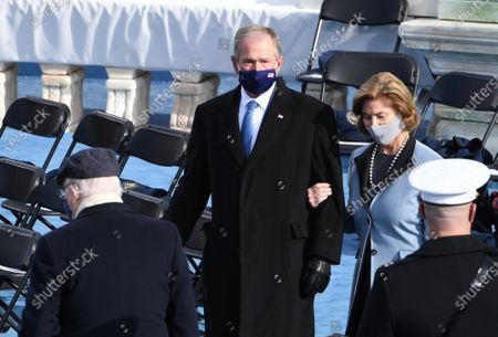 Former President George W. Bush and his wife Laura Bush arrive to witness President Joseph Robinette Biden Jr. take the oath of office as the 46th President of the United States in Washington, DC on Wednesday, January 20, 2021.