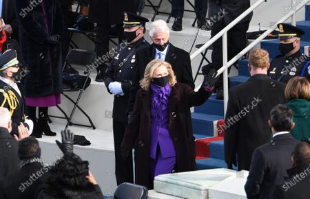 Former President Bill Clinton and his wife former Secretary of State Hillary Clinton arrive to witness President Joseph Robinette Biden Jr. take the oath of office as the 46th President of the United States in Washington, DC on Wednesday, January 20, 2021.