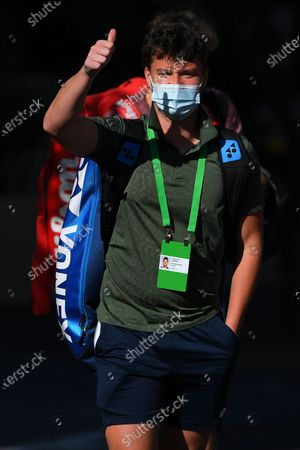 Stock Photo of Jonny O'Mara of Britain exits the Park View Hotel to attend a training session in Melbourne, Australia, 21 January 2021. Players who were aboard two flights that had four positive COVID-19 cases are in hard quarantine, unable to join their colleague who can train for up to five hours a day.