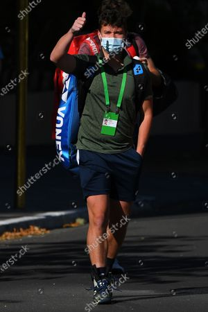 Jonny O'Mara of Britain exits the Park View Hotel to attend a training session in Melbourne, Australia, 21 January 2021. Players who were aboard two flights that had four positive COVID-19 cases are in hard quarantine, unable to join their colleague who can train for up to five hours a day.