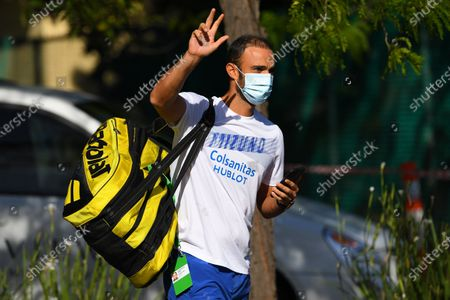 Stock Picture of Juan Sebastian Cabal of Columbia exits the Park View Hotel to attend a training session in Melbourne, Australia, 21 January 2021. Players who were aboard two flights that had four positive COVID-19 cases are in hard quarantine, unable to join their colleague who can train for up to five hours a day.
