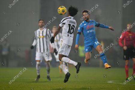 "Juan Guillermo Cuadrado Bello (Juventus)Dries Mertens (Napoli)             during the Italian ""Serie A SuperCup match between Juventus 2-0 Napoli  at  Mapei Stadium  on January 20 , 2021 in Reggio Emilia, Italy."